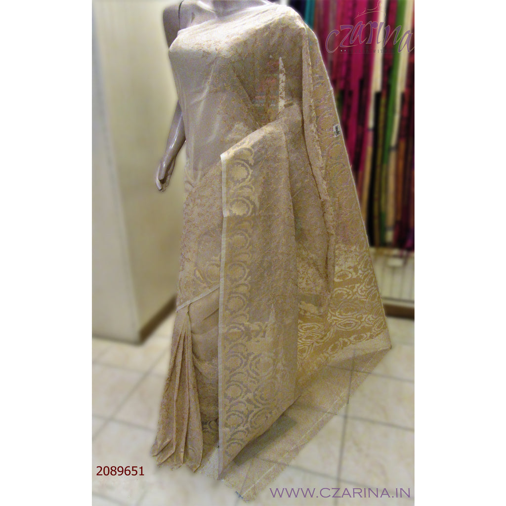 CREAM EMBROIDERED KOTA SAREE