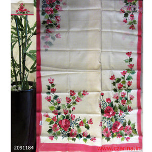 OFF WHITE PINK PRINTED KOTA SAREE