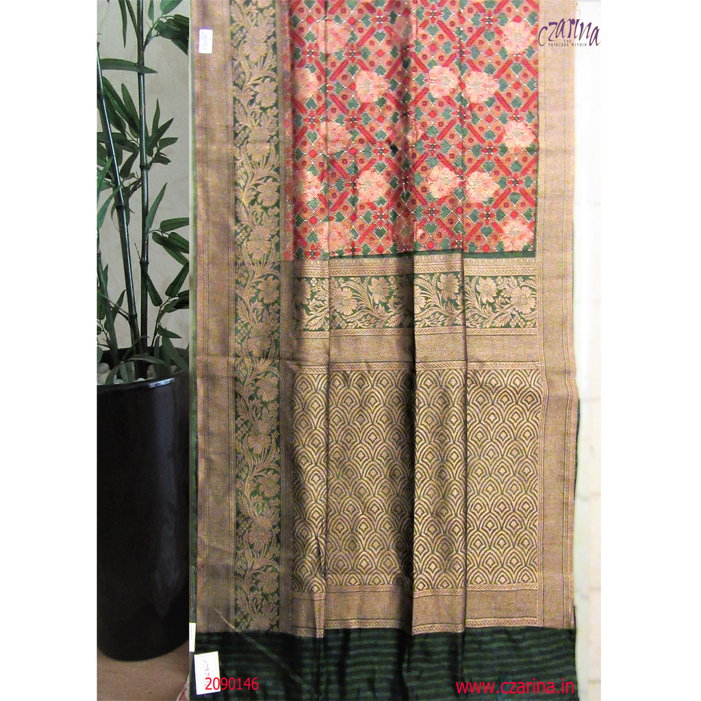 GREEN GOLDEN EMBROIDERED LINEN SAREE