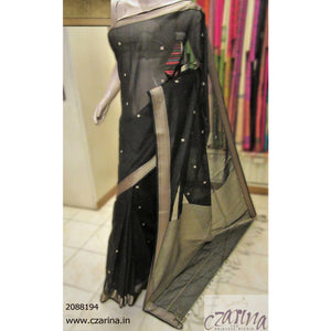 BLACK CREAM MAHESHWARI SILK SAREE