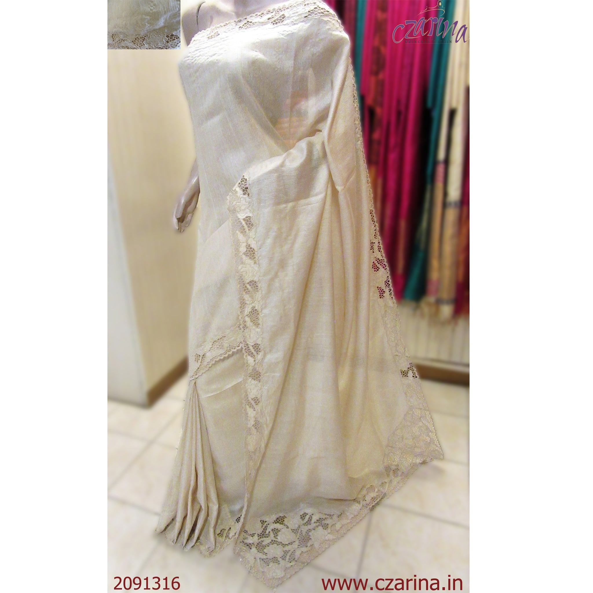 OFF WHITE CUTWORK TUSSAR SILK SAREE