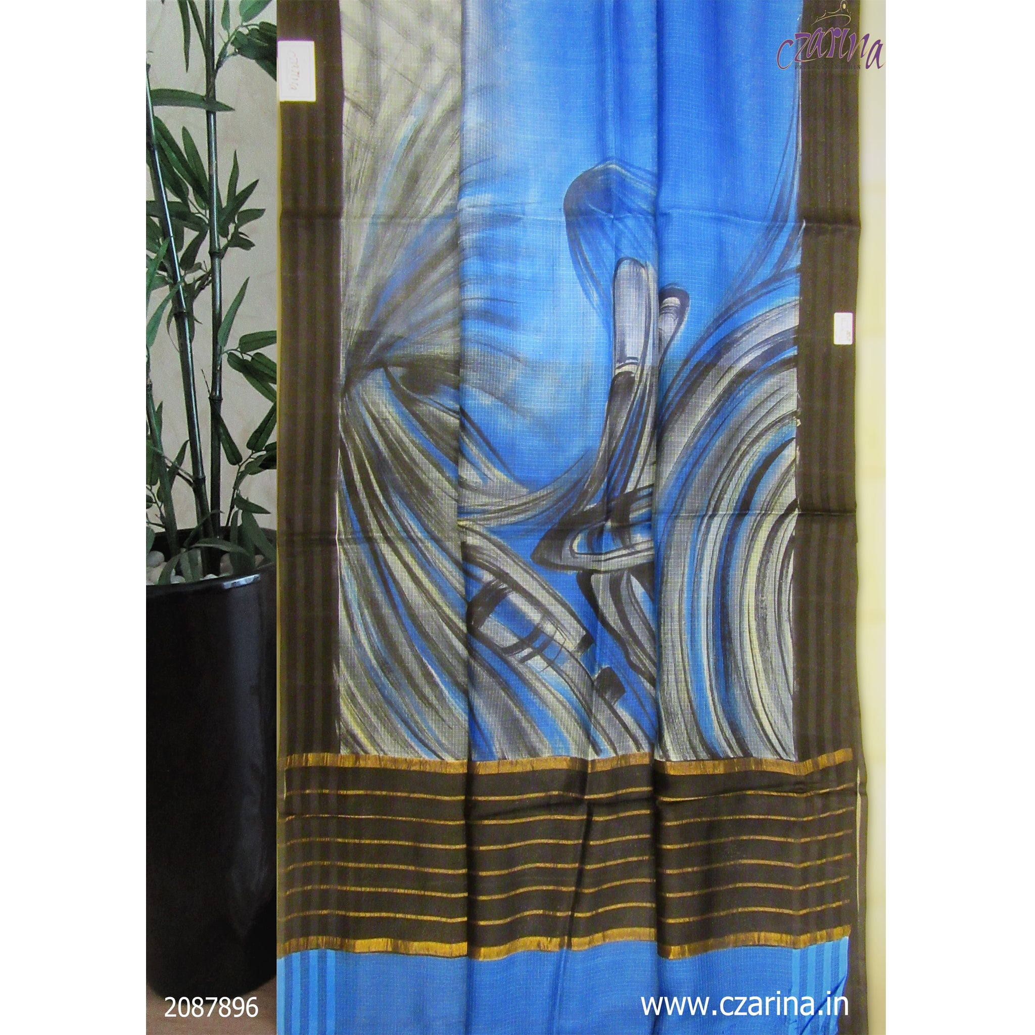 BLUE BLACK PRINTED SILKY KOTA SAREE