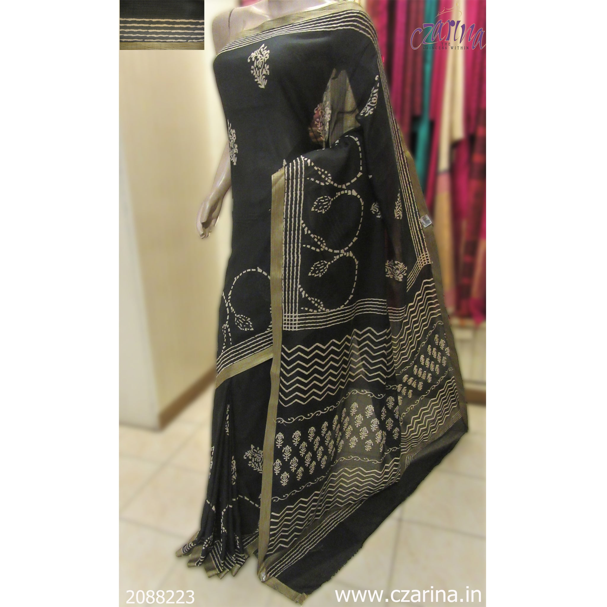 BLACK WHITE PRINTED CHANDERI SILK SAREE
