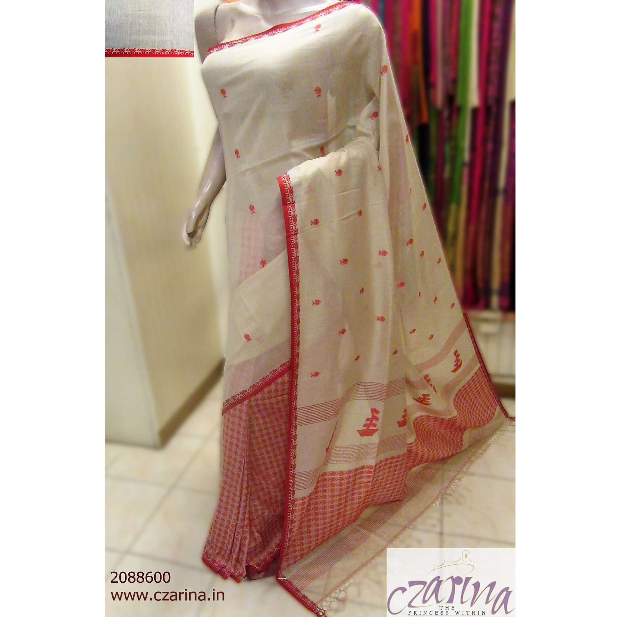 CREAM RED COTTON SAREE