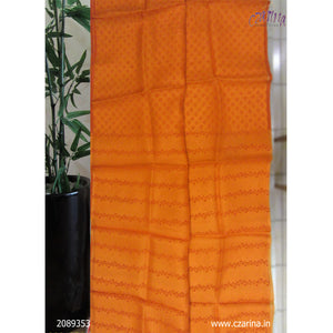 ORANGE PRINTED ORGANZA SAREE