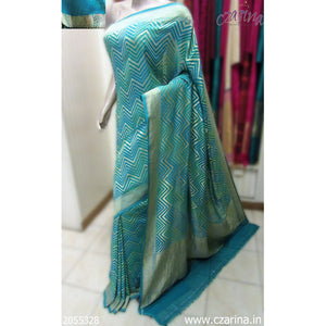 TURQUOISE BLUE GOLDEN BANARASI GEORGETTE SILK SAREE