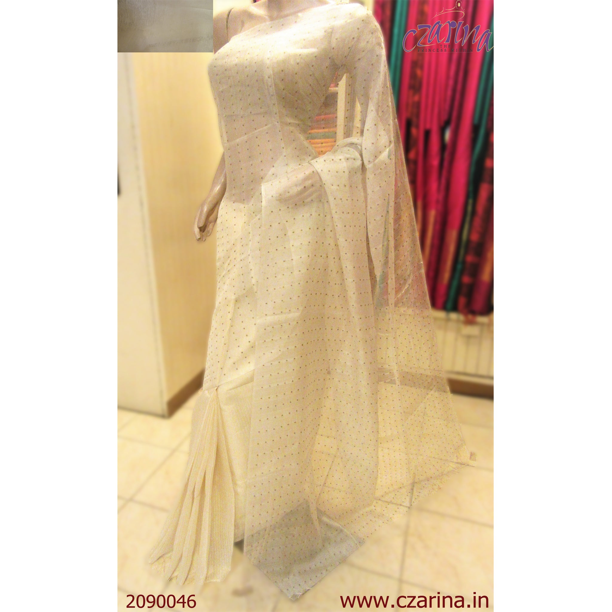 WHITE GOLDEN SEQUENCE WORK BAILOU SAREE