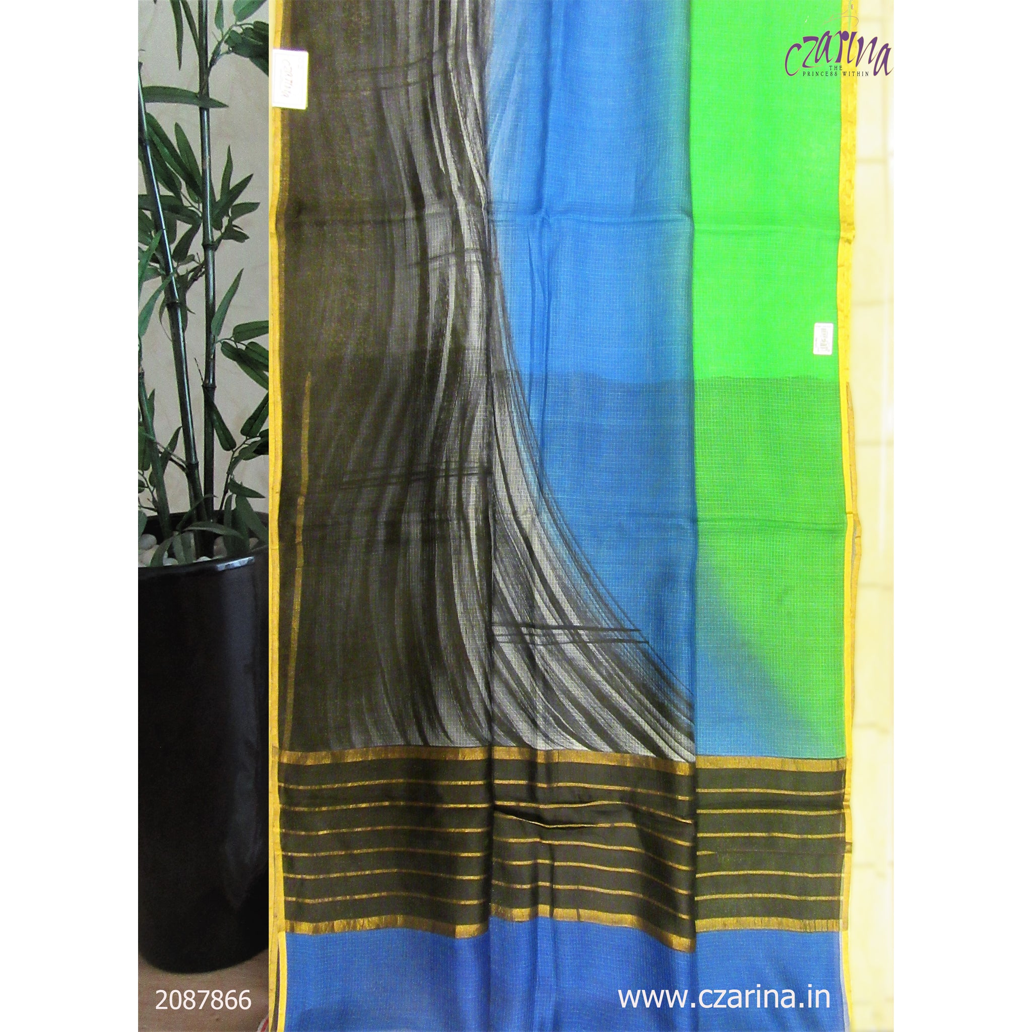 BLACK GREEN BLUE PRINTED SILKY KOTA SAREE
