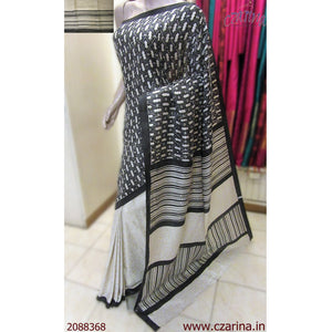 CREAM BLACK SILK COTTON SAREE