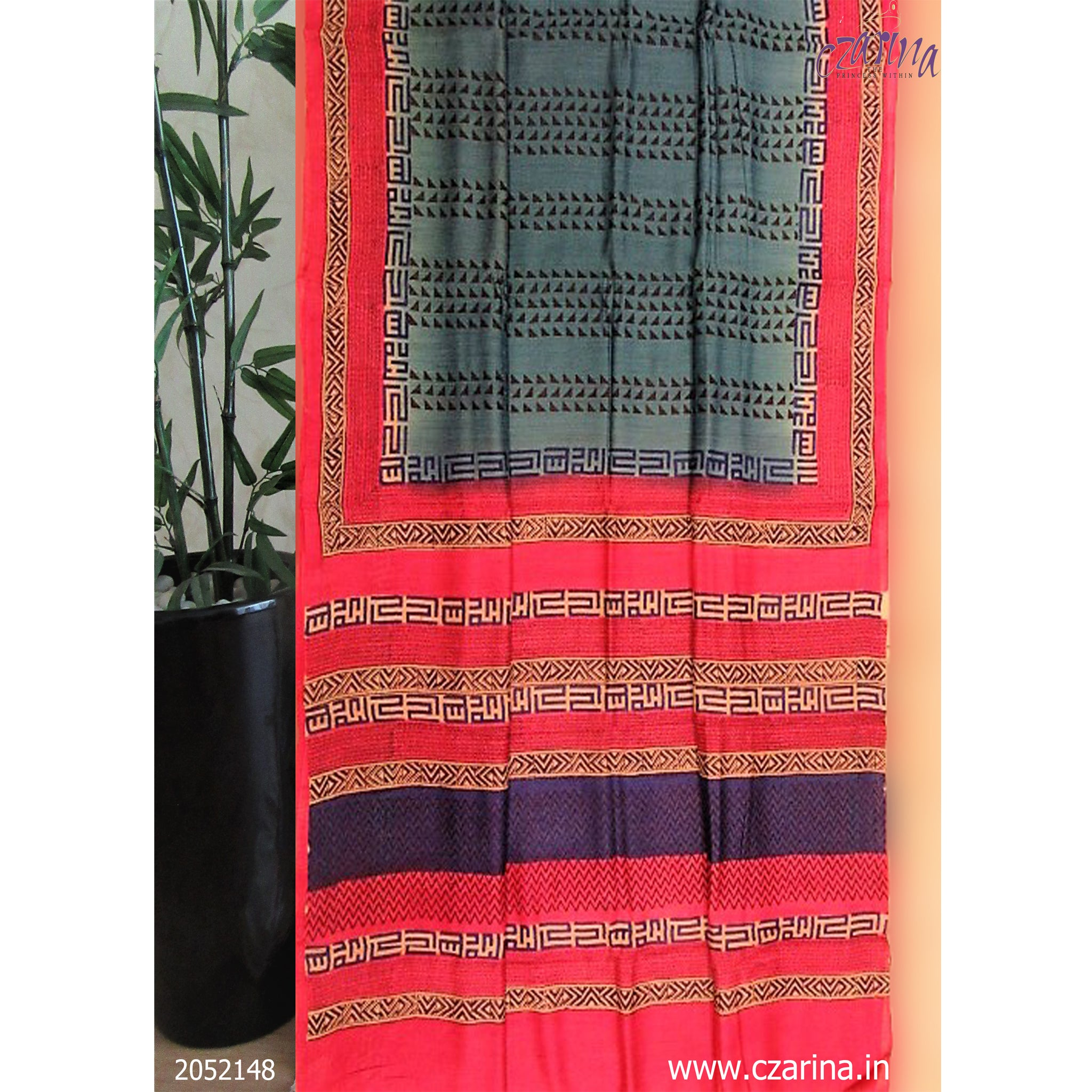 BLUE PINK PRINTED TUSSAR SILK SAREE