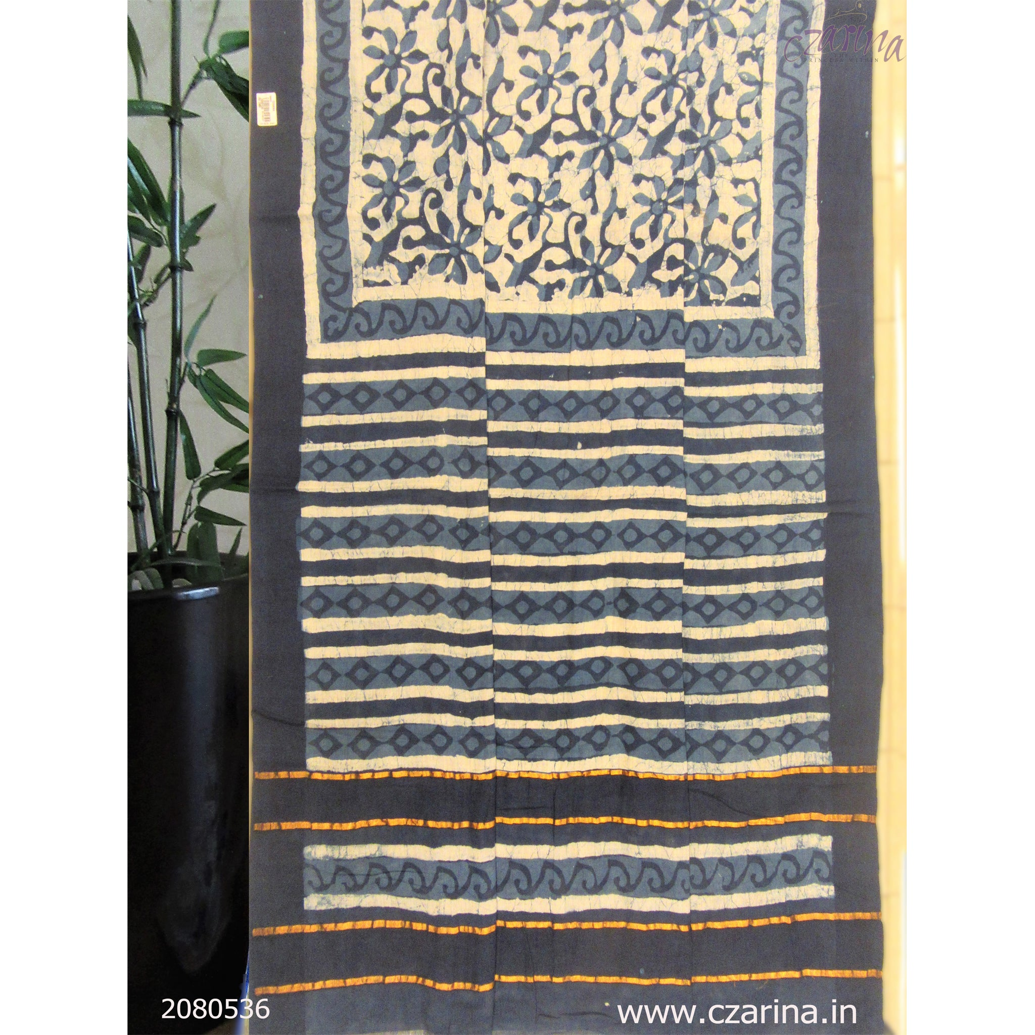 BLUE OFF WHITE CHANDERI COTTON SAREES