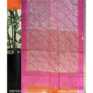 WHITE PINK ORANGE PRINTED SILKY KOTA SAREE