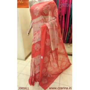 SALMON RED OFF WHITE KOTA COTTON SAREE