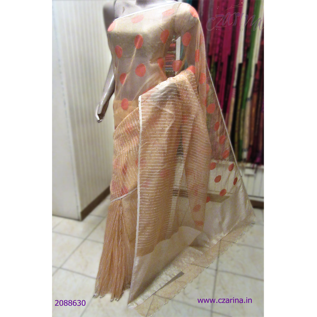 EMBROIDERED PEACH BAILOU SAREE