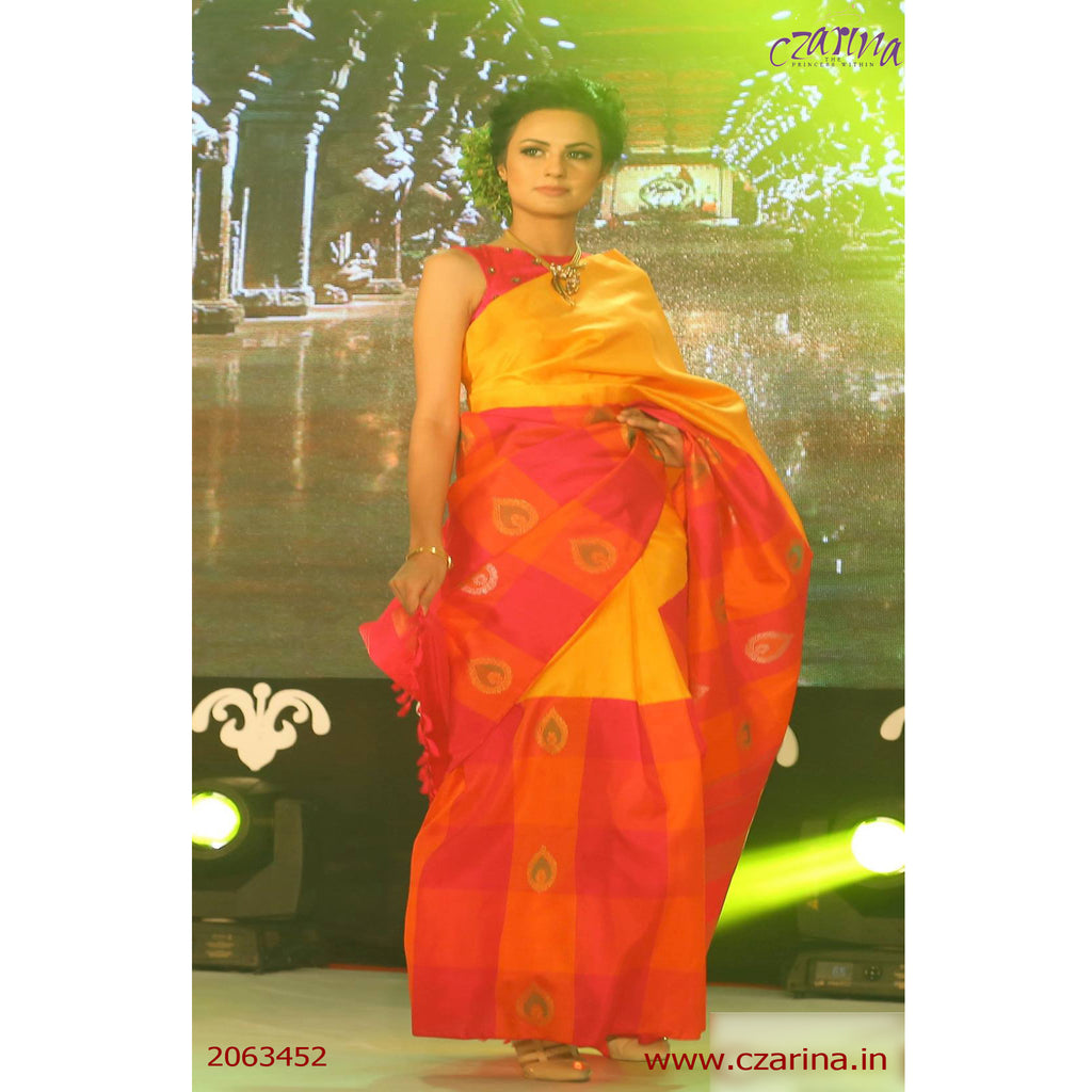 YELLOW ORANGE PINK KANCHIPURAM SILK SAREE