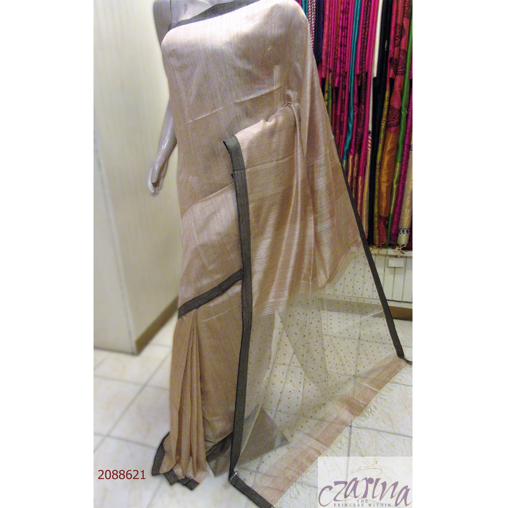 BEIGE BAILOU SILK SAREE WITH BLACK BORDER SAREE