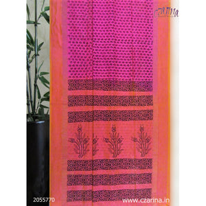 PINK MAROON BLACK COTTON SILK SAREE