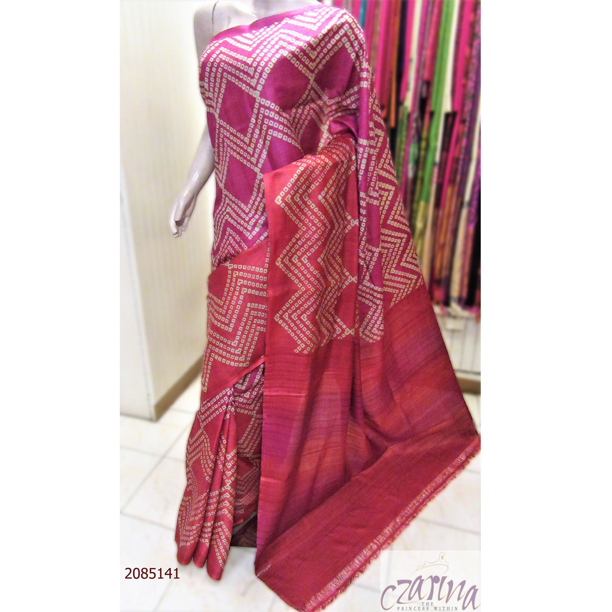 PINK OFF WHITE PRINTED TUSSAR SILK SAREE