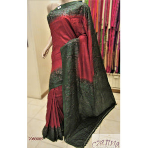 MAROON TUSSAR SILK WITH GREEN BORDER SAREE