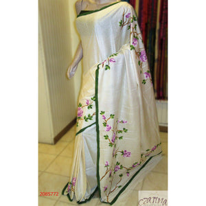 WHITE GREEN WITH VIOLET FLORAL TUSSAR SILK SAREE