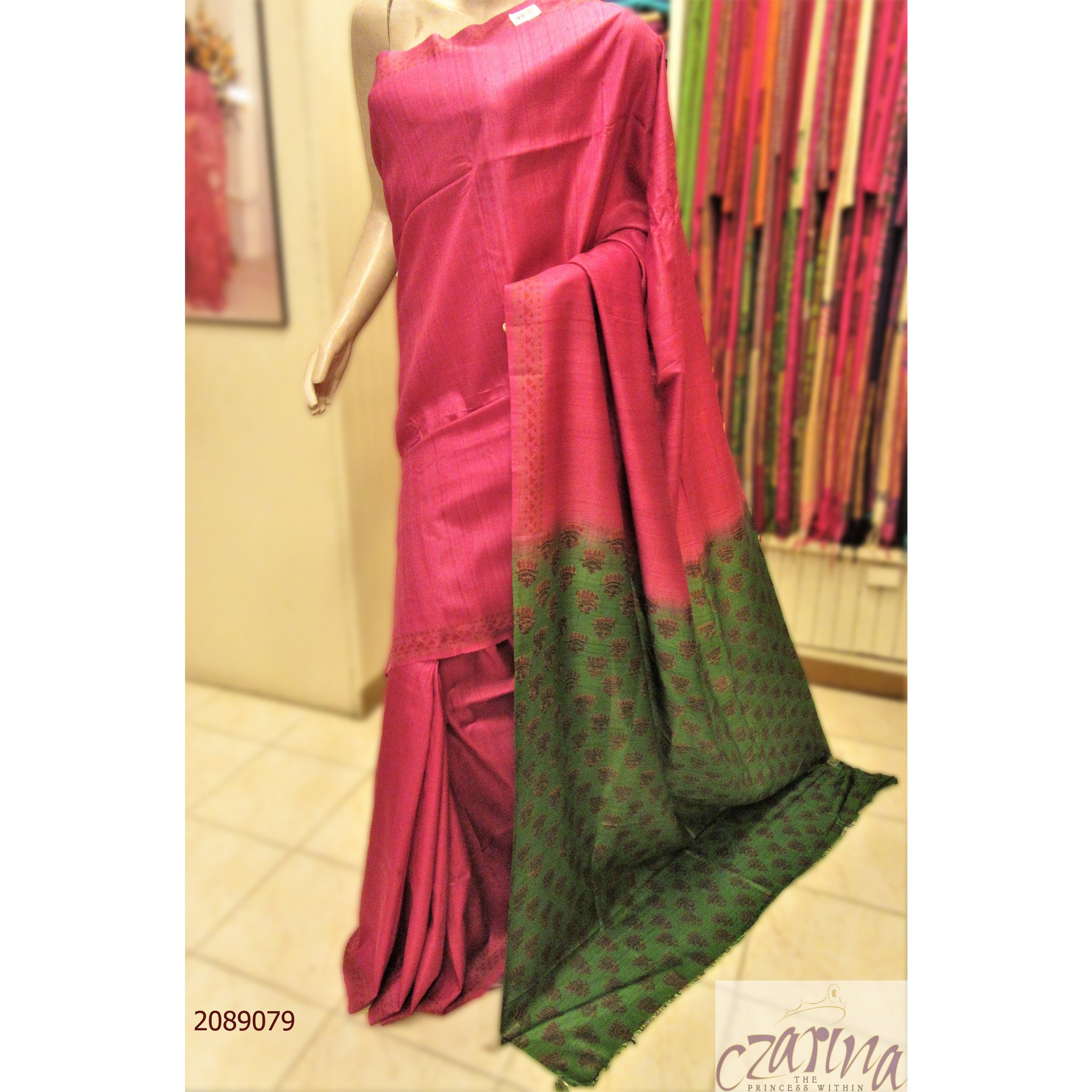 PINK TUSSAR SAREE WITH GREEN PALLU SAREE