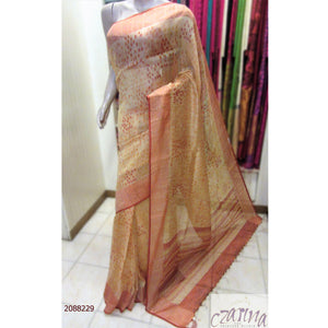 OFF WHITE YELLOW RED ORGANZA SAREE