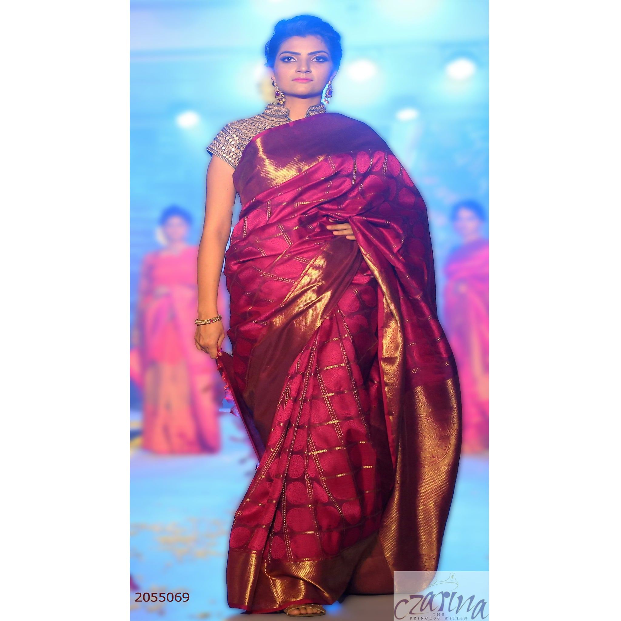 MAGENTA GOLDEN KANCHIPURAM SILK SAREE