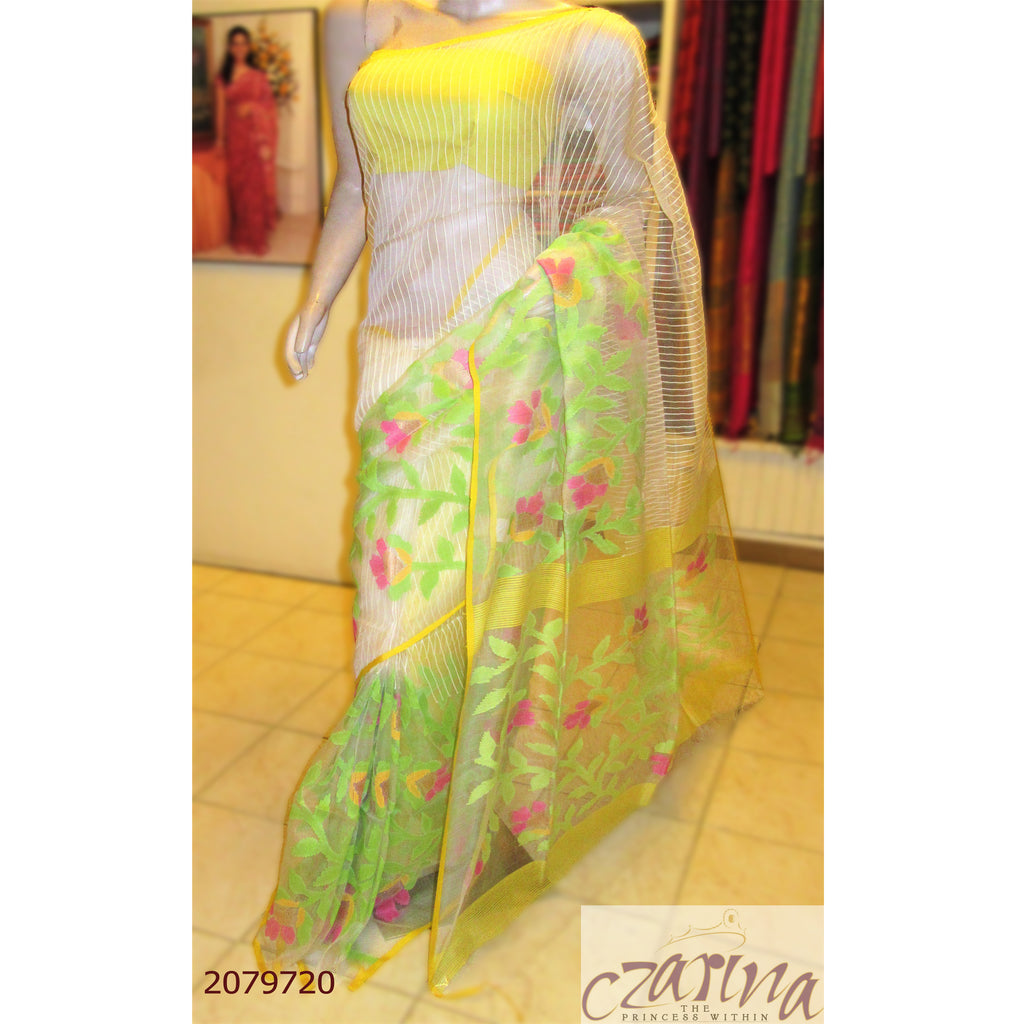 OFF WHITE GREEN YELLOW PINK BAILOU SAREE