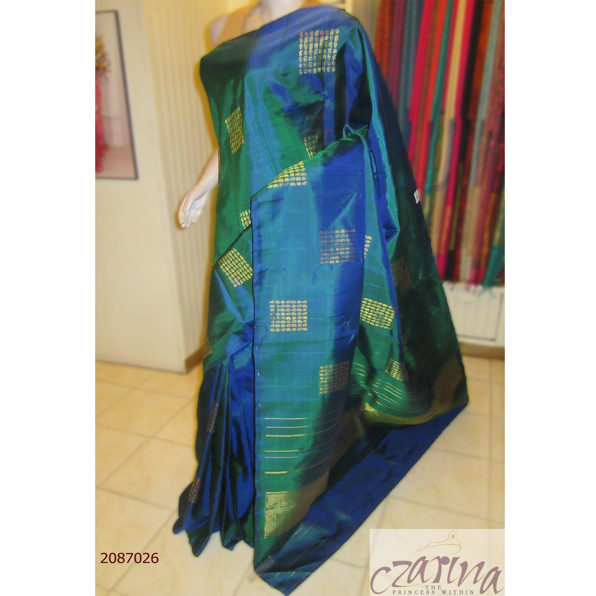BLUE GREEN GOLDEN KANCHIPURAM SILK SAREE