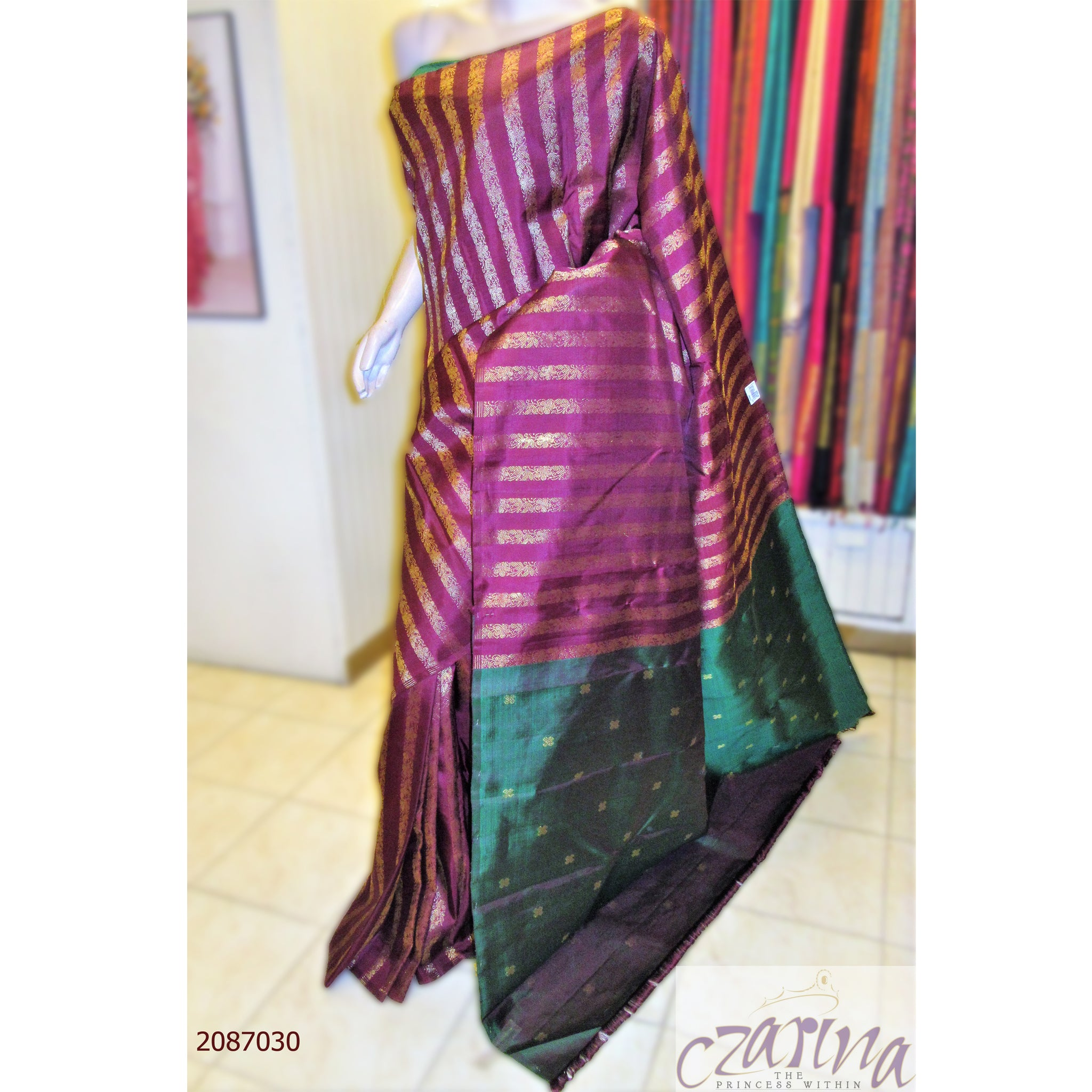 MAROON GREEN GOLDEN KANCHIPURAM SILK SAREE