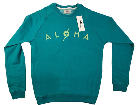 Lightning Bolt Surf Sweatshirt Aloha Hawaii Teal Blue