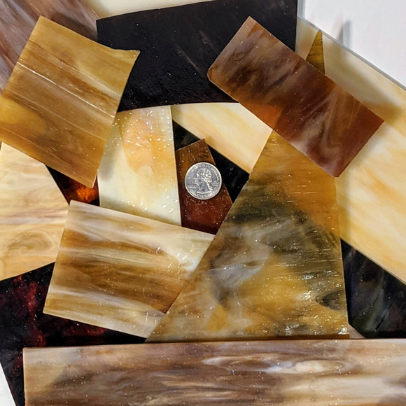 Amber Opalescent Mosaic Art Glass Pieces