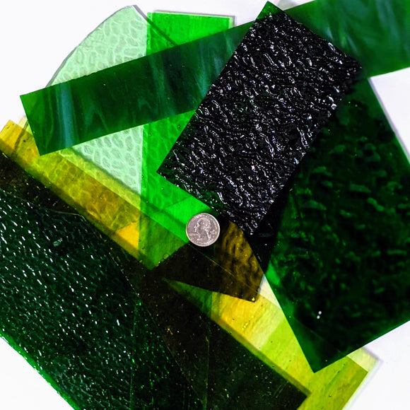 Green Cathedral Mosaic Art Glass Pieces
