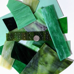 Green Opalescent Mosaic Art Glass Pieces