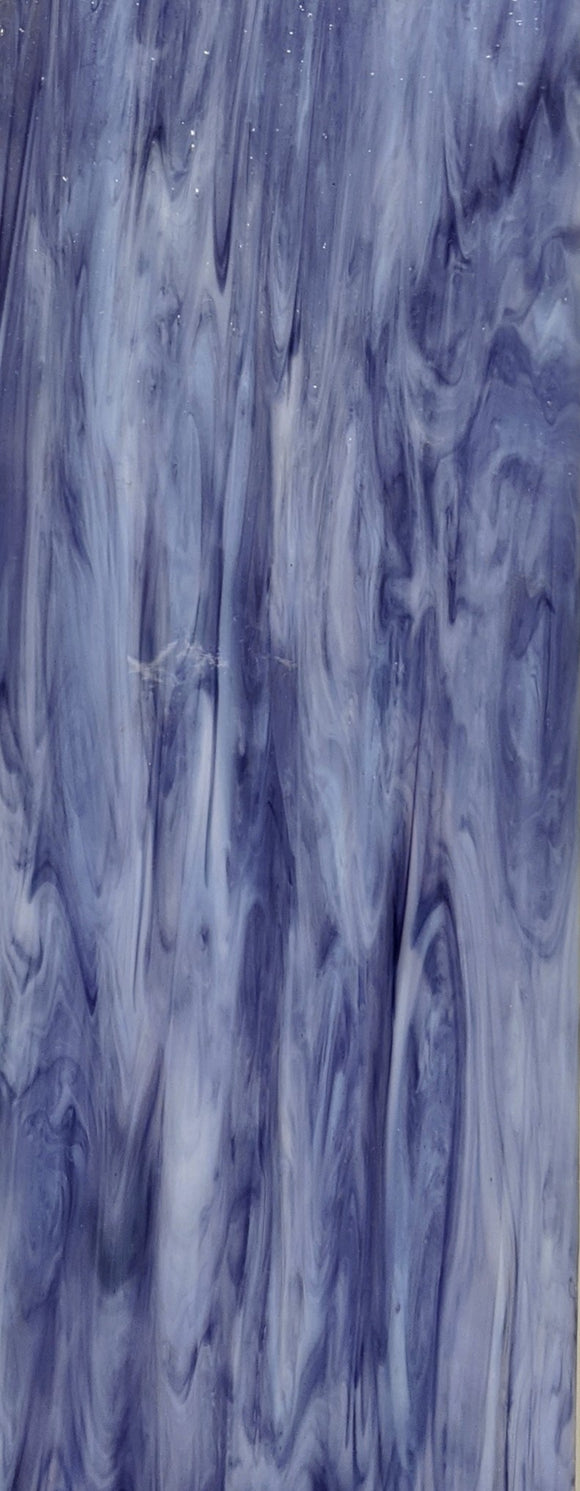 Armstrong Glass Company 0197S Clear Opalescent Cobalt Purple Streaky Stained Glass Glass Sheet