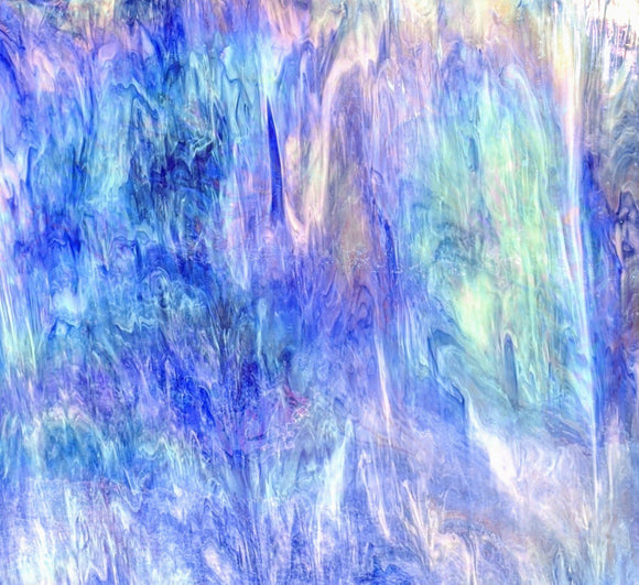 Armstrong Glass 014SR CLEAR OPAL COBALT BLUE STREAKY IRID Stained Glass Sheet