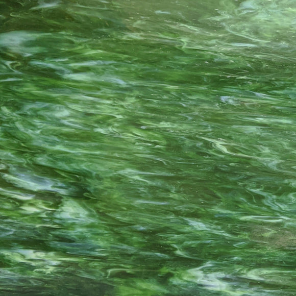 Armstrong Glass Company 3418S Olive Green Opalescent Streaky Stained Glass Glass Sheet