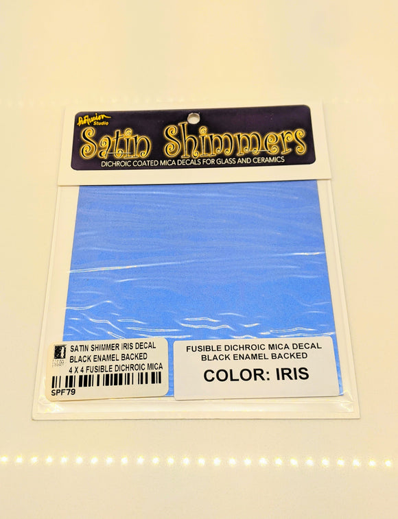 Satin Shimmer Iris Decal Black Enamel Backed 4 x 4