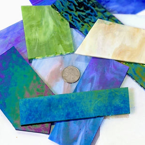 Iridescent Opalescent Mosaic Art Glass Pieces