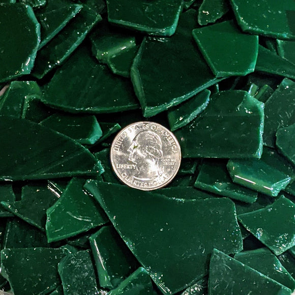 Dark Green Mosaic Art Glass Chips