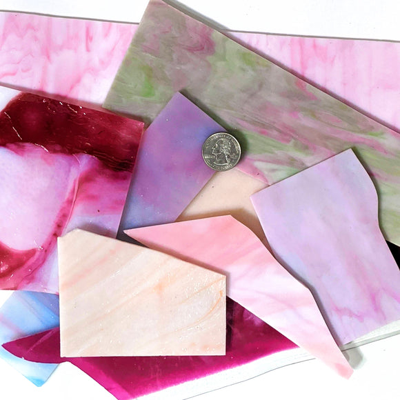 Pink Opalescent Mosaic Art Glass Pieces