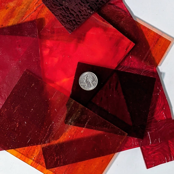 Red Cathedral Mosaic Art Glass Pieces