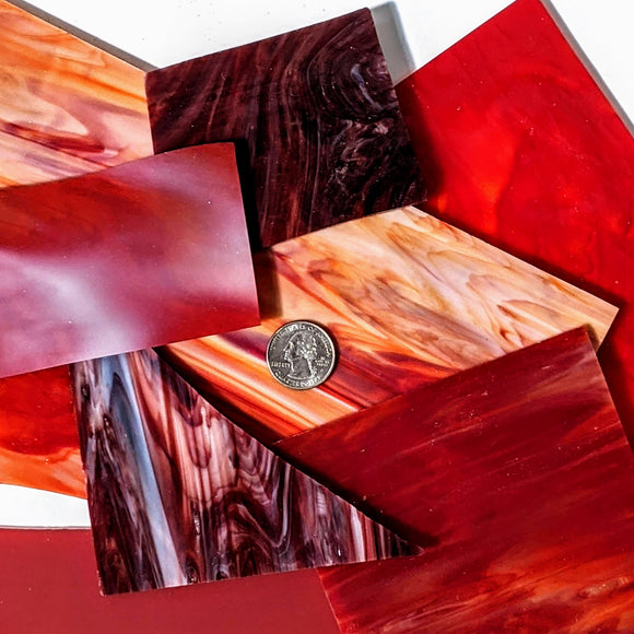 Red Opalescent Mosaic Art Glass Pieces