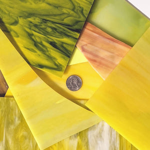 Yellow Opalescent Mosaic Art Glass Pieces
