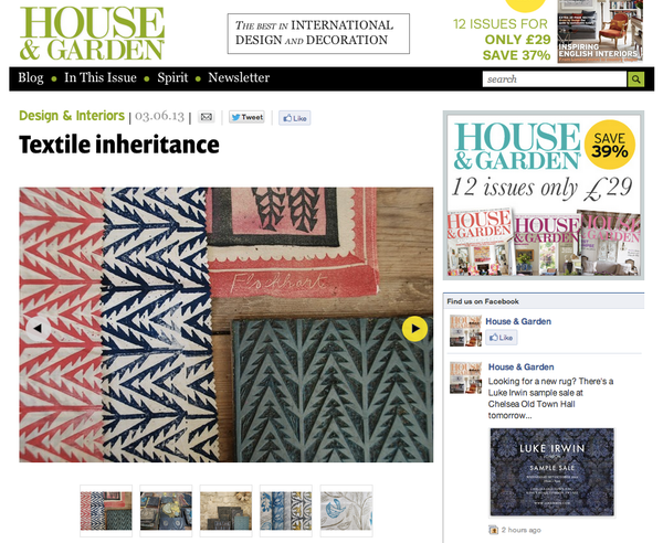 House & Garden Online, May 2013