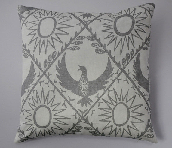 Bird and Sun Cushion in Grey