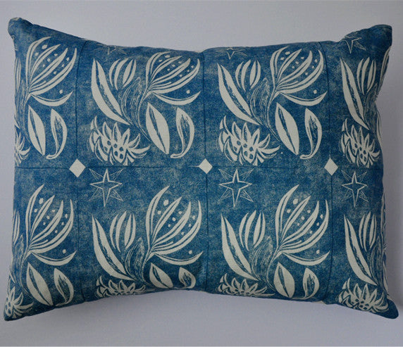 Winter Flower Cushion in Blue