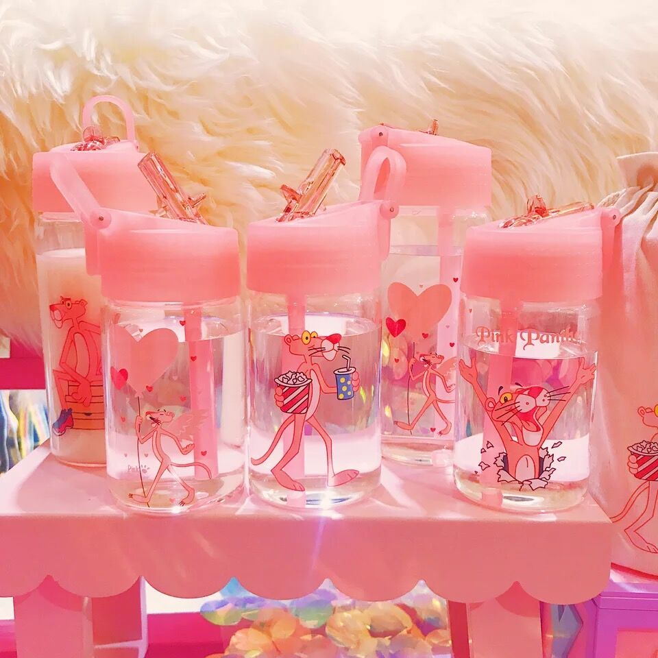 Cute Pink Panther Portable Sport Glass