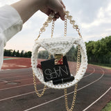 Round Clear Transparent Women Handbag Pear Handle Chains Crossbody Bag - HeyHouse