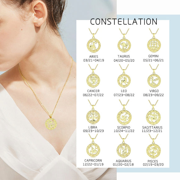 12 Horoscope Constellation Pendant Necklace For Women